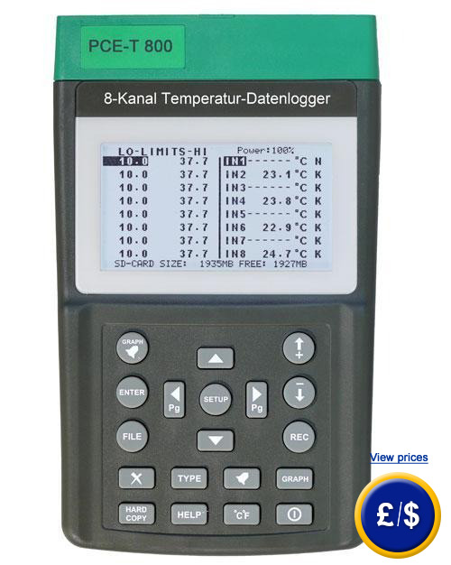 Thermometer with data logger PCE-T 800 with real time data logger in the SD 54d4b0f96d5aa